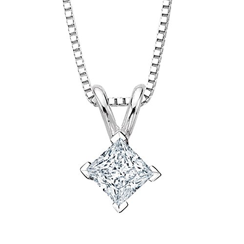 - 2/3 ct. K - VVS2 Princess Cut Diamond Solitaire Pendant Necklace in 14K White Gold