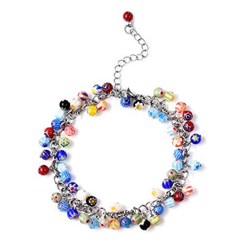 Millefiori Glass Beaded Bracelet - Round Bead Strand Murano Millefiori Glass