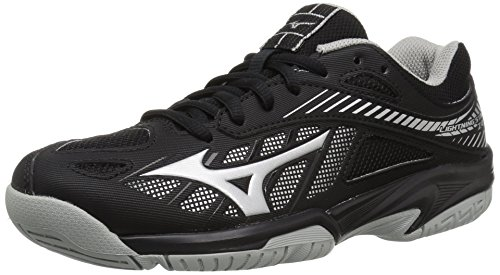 Kids Volleyball Shoes - Mizuno Unisex-Kids Lightning Star Z4 Volleyball Shoe, Black/Silver, Youth 5 M US Big Kid