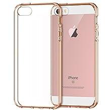 iPhone SE Case, JETech Apple iPhone SE/5S/5 Case Bumper Cover Shock-Absorption Bumper and Anti-Scratch Clear Back (Rose Gold)