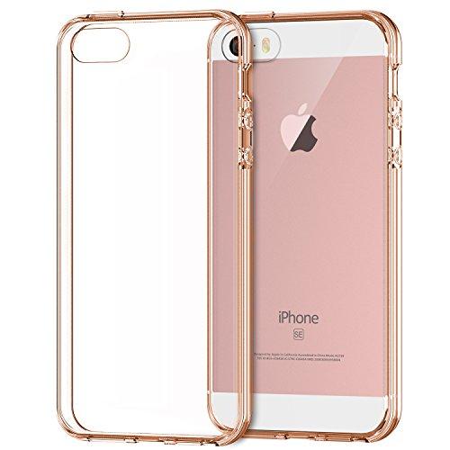 JETech Apple iPhone SE 5S 5 Case Cover Shock-Absorption Bumper Anti-Scratch Clear Back (Rose Gold)