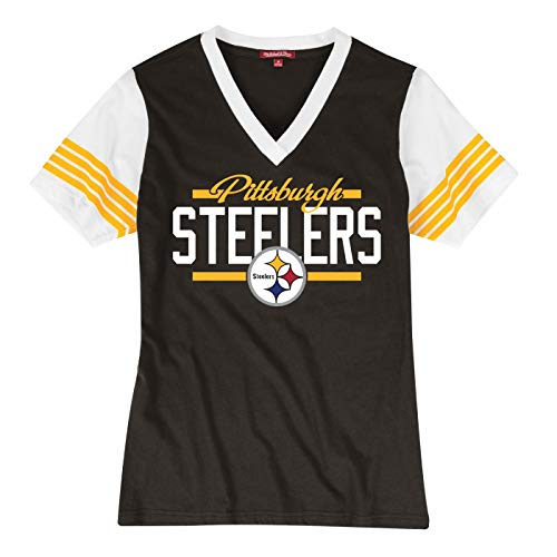 b18f1113bdc Mitchell & Ness Pittsburgh Steelers Women's NFL MVP V-Neck Short Sleeve T- Shirt