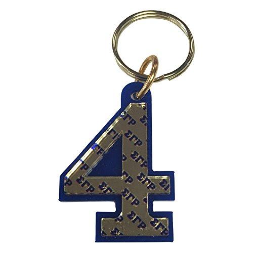 Sigma Gamma Rho Line Number # Acrylic Mirrored Decorative Keychain (#4 Line Number Keychain) (Keychain Gamma Rho Sigma)