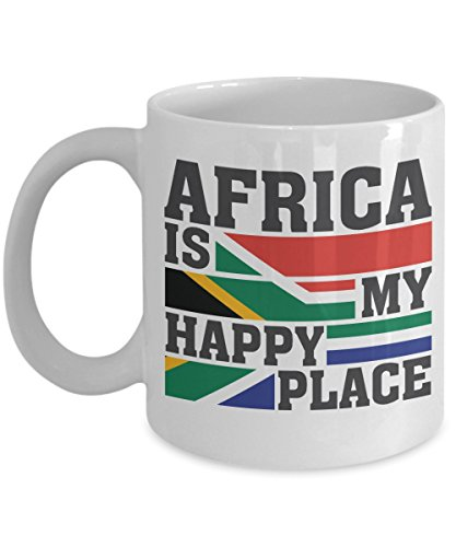 Africa Is My Happy Place Coffee & Tea Gift Mug For Travelers And Men & Women African Americans (11oz)