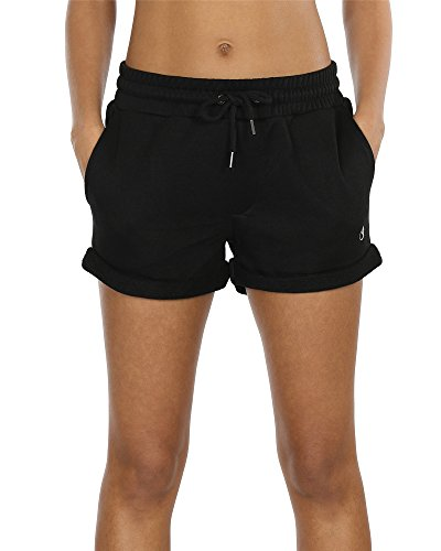 icyzone Workout Lounge Shorts for Women - Athletic Running Jogging Cotton Sweat Shorts (Black, L)