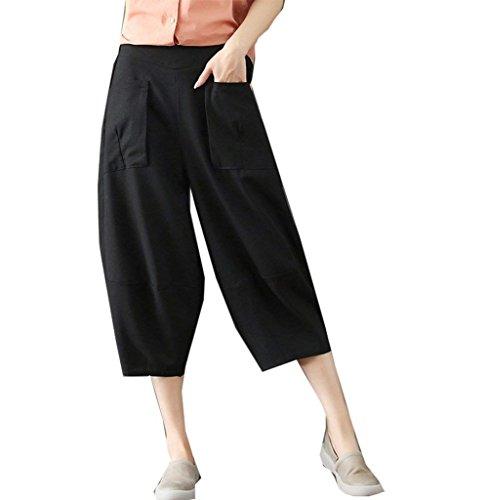 Donna Monocromo Baggy Accogliente Libero Estivi Tempo nbsp; Pluderhose Nero Eleganti Pantaloni Harem Pantaloni Grazioso Leggero Pantalone 4FwRqx