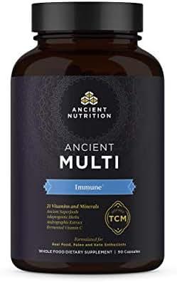 Ancient Nutrition, Ancient Multi Immune - 21 Vitamins & Minerals, Adaptogenic Herbs, Paleo & Keto Friendly, 90 Capsules