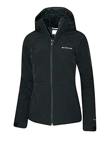 (Columbia Women's Alpine Fir Windproof Fleece Lined Softshell Hooded Jacket (L, Black))