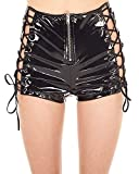 iHeartRaves Black Vinyl Into The Shadows Lace Up High Waisted Shorts (Medium)