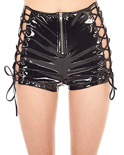 iHeartRaves Black Vinyl Into The Shadows Lace Up High Waisted Shorts (X-Large) -