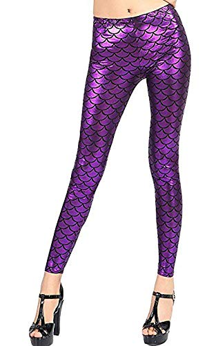 New Womens Holographic Mermaid Fish Scale Print Skinny Metallic Leggings Pants