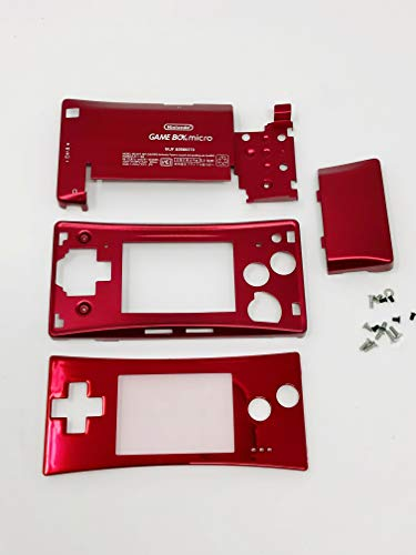 RGRS Replacement Red Full Housing Shell Case Repair Parts Kit w/Lens & Screwdriver for Nintendo Game Boy Micro Console...