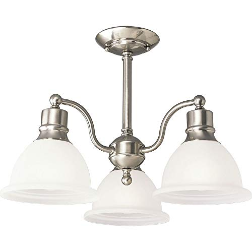 Progress Lighting P3663-09 3-Light Semi-Flush Close-to-Ceiling Fixture with White Etched Glass, Brushed Nickel