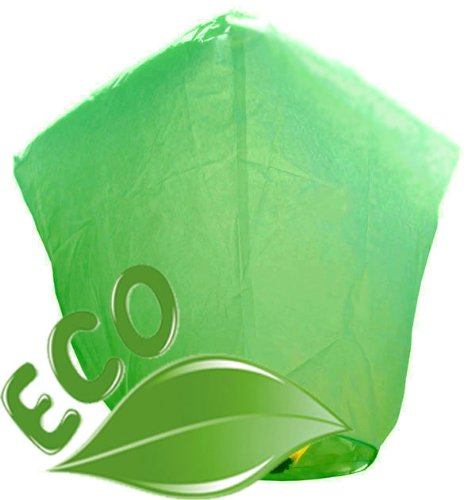 (Just Artifacts Wholesale 240 ECO Wire-Free Flying Chinese Sky Lanterns (Set of 240, Wire-Free Diamond, Green) - 100% Biodegradable, Environmentally Friendly Lanterns!)
