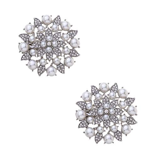 Casualfashion 2Pcs Stylish Removable Pearl Flower Shoe Clips Crystal Shoe Buckles for Wedding Party Prom (Silver Color)