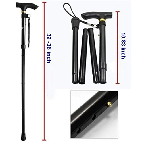 Black Aluminum Metal Walking Stick Adjustable Folding Collapsible Travel (Beacon Hill Linen)