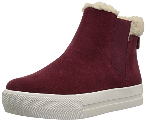 De Fix Dames Joan High-top Faux Shearling Trim Sneaker Bordeaux Suède