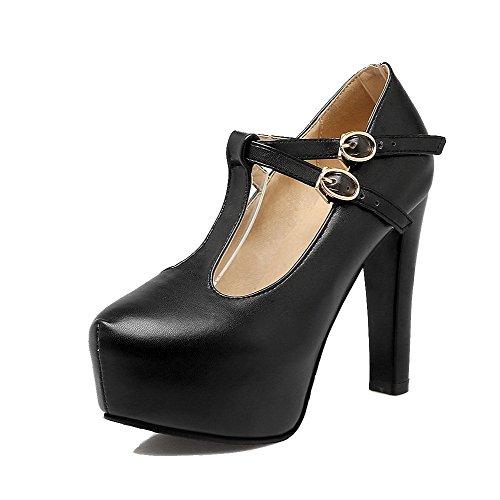 AllhqFashion Légeres Noir Femme Talon Couleur à Boucle Haut Chaussures Unie Rond TwSxrTqz