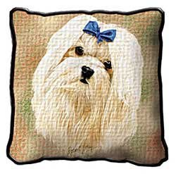 Maltese Dog Figurine (Maltese Pillow - 17 x 17 Pillow)