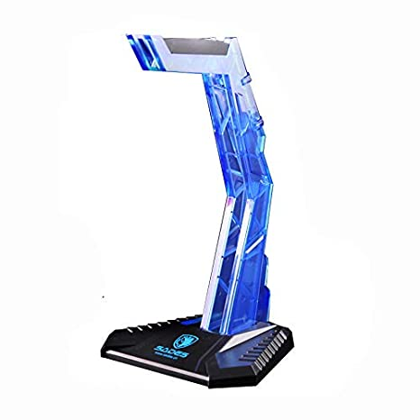 Axiba Gaming Headphone Cradle, Acrylic Headset Bracket Stand Holder, Suitable for AKG/Sony/Shure/Sennheiser/Monster Beats/Ultimate Ears/Boss/Logitech/Gaming Headset, Blue(Stand Holder Only) Blue(Stand Holder Only) (Blue)