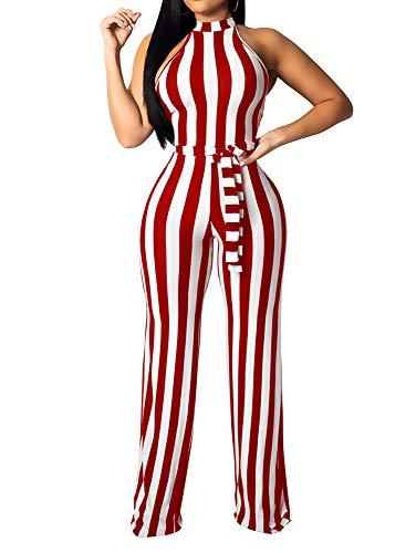 BEAGIMEG Women's Striped Halter High Waist Wide Leg Jumpsuit with Belt Red -