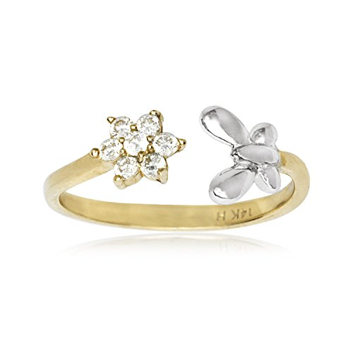 14k Yellow and White Gold Adjustable Butterfly And Flower Body Jewelry Toe Ring