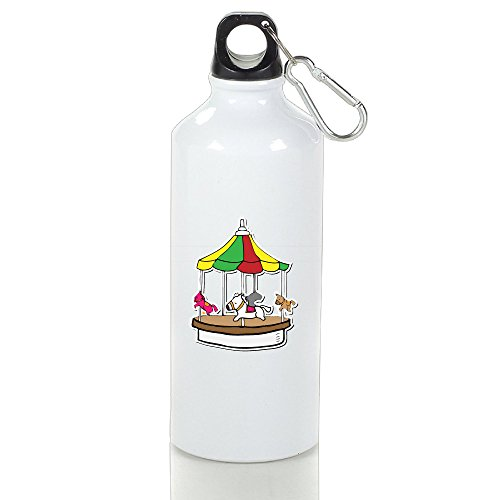 SIHA Dos LOVA Merry Go Round Aluminum Sport Water Bottle, Great For Outdoor And Sport Activities. Metal Hook On The Top 600ml