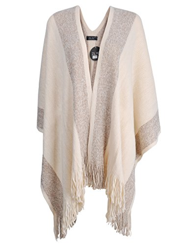 ZLYC Women's Shawl Golden Trim Knit Blanket Wrap Fringe Poncho Coat Cardigan (Khaki)