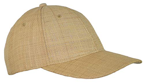 Natural Raffia Baseball Hat Breathable Woven Straw Adjustable Trucker Cap