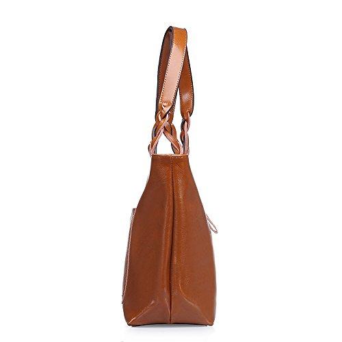 Morbido Sakutane Cera Hb0042 Donna Borsetta Tote marrone Maniglia Unico Vera brown Pelle Weave Vintage qBBpxZ5Uw