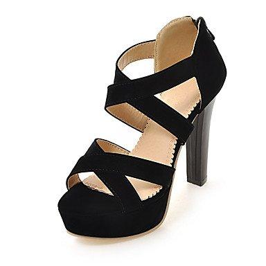LvYuan Tacón Robusto-Zapatos del club-Sandalias-Informal-Semicuero-Negro Rojo Almendra almond