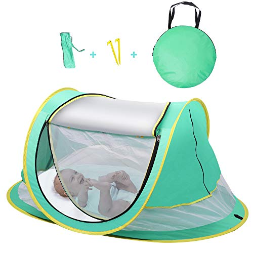 Sunba Youth Baby Tent, Portable Baby Travel Bed, UPF 50+ Sun Shelters for Infant, Pop Up Beach Tent, Baby Travel Crib with Mosquito Net, Sun Shade (Green)
