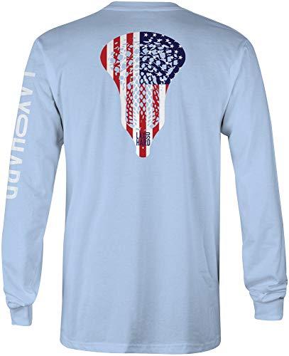 LAX SO HARD Boys American Lacrosse Long Sleeve T-Shirt, Youth Large Light Blue