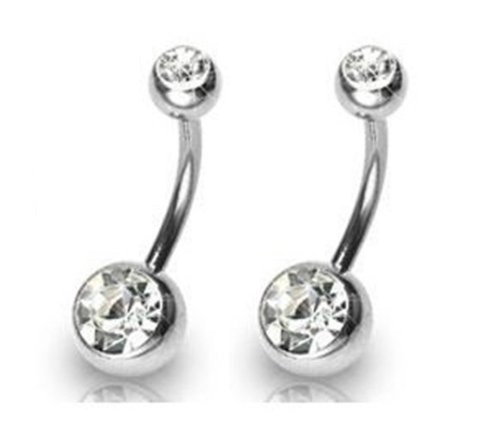 silver belly button rings - 1