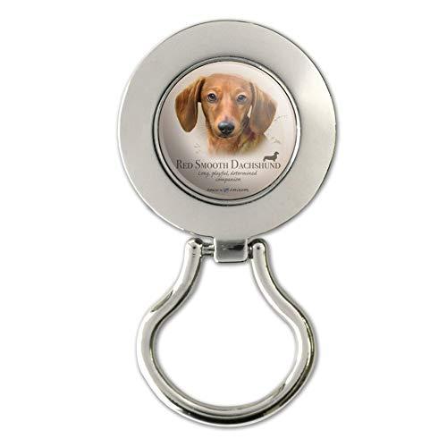 Red Smooth Dachshund Wiener Dog Breed Magnetic Metal Eyeglass ID Badge - Holder Dachshund Eyeglass