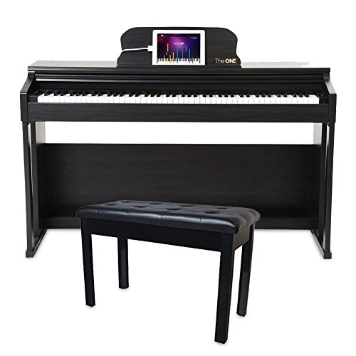 The ONE Smart Piano 88-Key Home Digital Piano Grand Graded Action Upright Piano – Matte Black with Chromacast Padded Wooden Double Size Piano Bench, Black