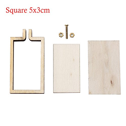 SMALLCHIPINC - 1Pc Unique Mini Embroidery Hoop Wooden Embroidery Frame Small New Hand Stitching Hoop Cross Framing Hoop DIY Crafts Gift Earring (Square) (Square Hand Hoop Quilting)