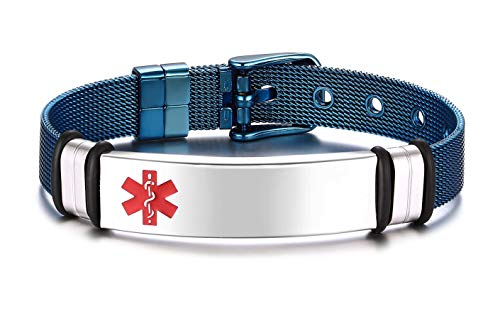 JF.JEWELRY Blue Plated Stainless Steel Mesh Band Medical Alert Id Bracelet for Men and Women Customizable Engraving (Engravable Medical Id Bracelet)