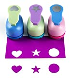 SICOHOME Paper Punches,Pack of 3,Heart,Circle,Star