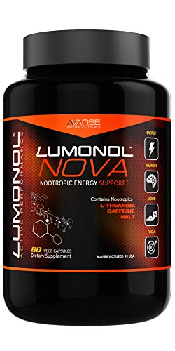 Lumonol Nova (60ct): Brain Power & Pre-Workout Energy Booster Without The Usual Crash. All Natural Nootropic Energy Booster Pills with L-Theanine. Helps Improve Focus, Limits Occasional Nervousness.