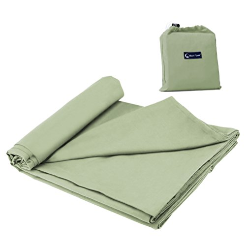 Double Cotton Sleeping Bag Liner,Travel and Camping Sheet Sleep Sack Lightweight Warm Roomy for Camping, Travel, Youth Hostels, Picnic 63 x 82.7inch,Green
