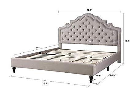 King Home Life Platform Bed Light Grey