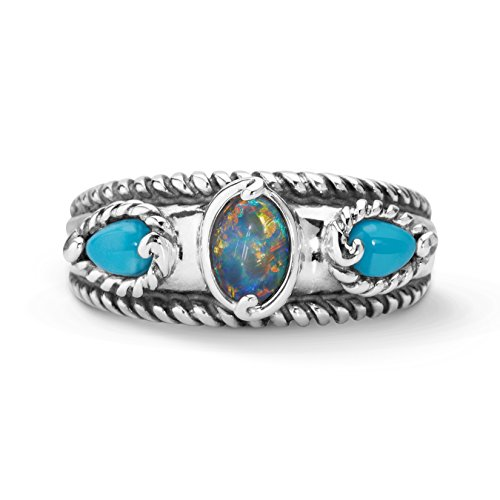 Carolyn Pollack Sterling Silver Sleeping Beauty Turquoise Opal Triple Band Ring,  size  8