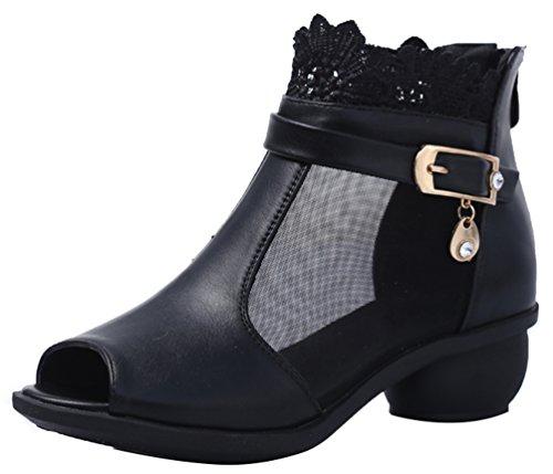 Abby 6825 Femmes Charmant Snug Peep Toe Bloc Haut Respirant Sexy Maille Bloc Talon Moderne Square Dance Sneakers Noir