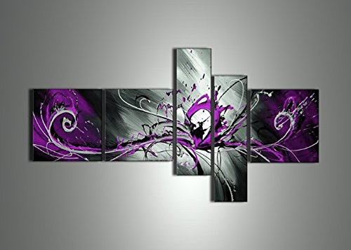 Globalartwork- Handpainted 5 Piece Black White Purple Modern