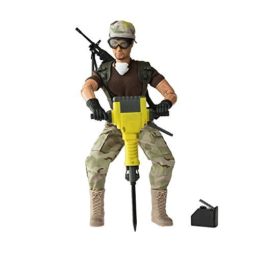 World Peacekeepers Army Men Action Figures: 30-Pt. Full-Motion 12-Inch Army Toys w/ Ninja Grip, Jackhammer, Gas Can, Goggles & Military Camo (Combat Engineer)