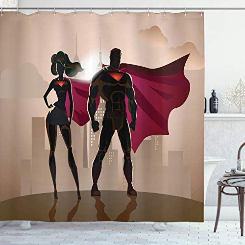 Ambesonne Superhero Shower Curtain, Super Woman and Man Heroes in City Solving Crime Hot Couple in Costume, Cloth Fabric Bathroom Decor Set with Hooks, 70