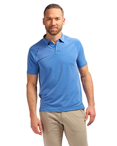 Rhone Delta Pique Polo Performance Collar Track Blue Large | Polo Shirts for Men With Lightweight Pique Mesh Fabric