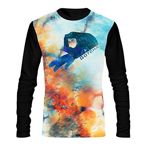 HNkiha Men's 3D Printed Casual T-Shirt Fantasy Painting Gotcha Cricle Finger Long Sleeve Summer Stylish Tees L -