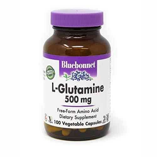Bluebonnet L-Glutamine 500 mg Vitamin Capsules, 100 Count